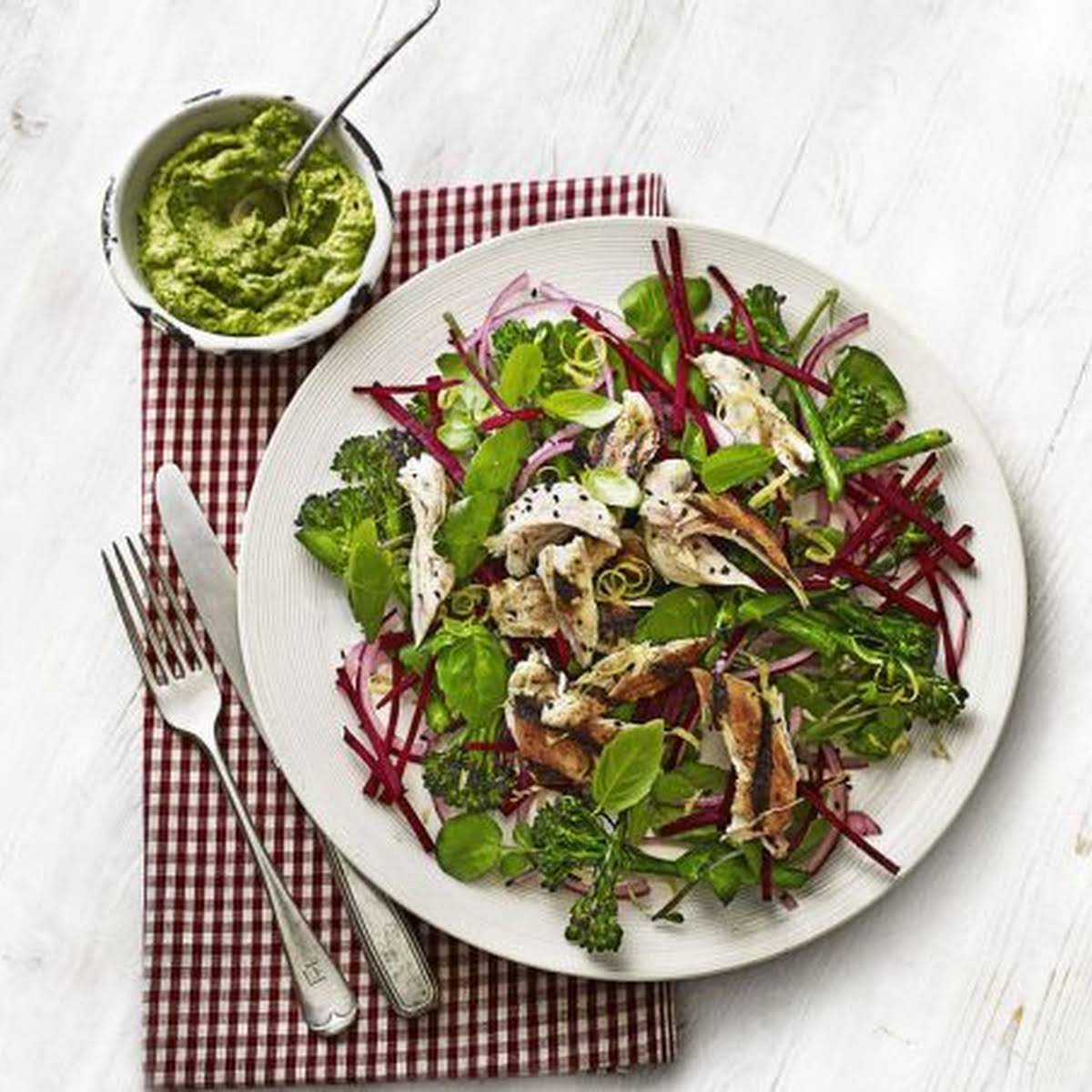 Chicken, Broccoli & Beetroot Salad  subsequent to Avocado Pesto
