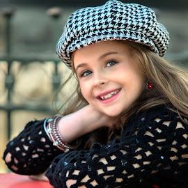 Checker Hat by Sylvester Fourroux - Babies & Children Child Portraits