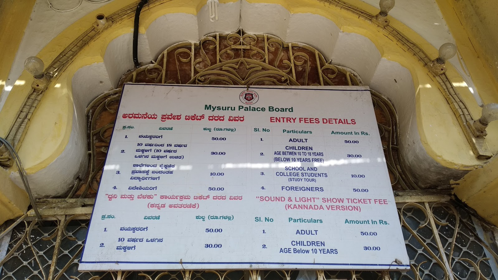 Entry ticket for Mysore Palace