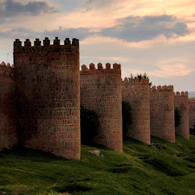 Avila Walls at Sunset by Aaron Gould - Buildings & Architecture Public & Historical ( sunset, avila, spain, wall )