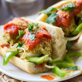 Quinoa Meatball Sub with Grilled Peppers + Onions Recipe