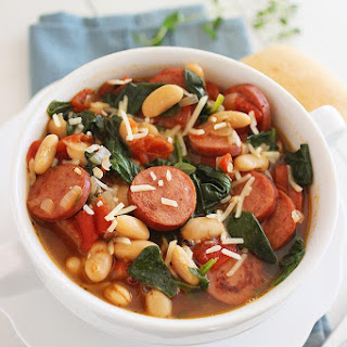 Smoked Sausage, Spinach and White Bean Soup.