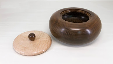 "Photo: Joe Stout 8"" x 4"" ""Beads of Courage"" lidded bowl [walnut, maple]"