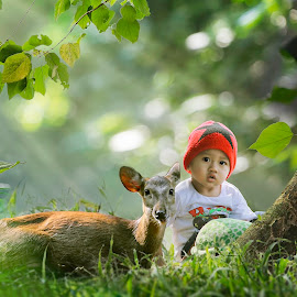 Kids and deer by Irwan Setiawan - Digital Art People ( outdoors, digital art, children, kids, cute, boy )