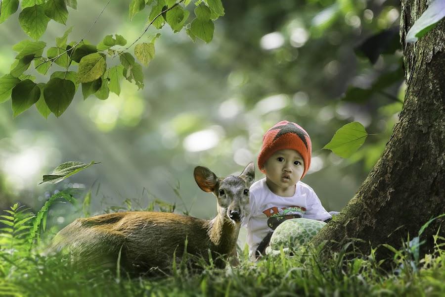 Kids and deer by Irwan Setiawan - Digital Art People ( outdoors, digital art, children, kids, cute, boy )