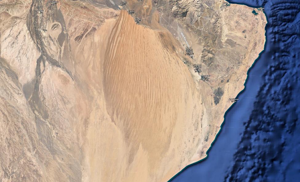 Wahiba Sands, Oman, mapa, zdjęcie satelitarne, Google Earth