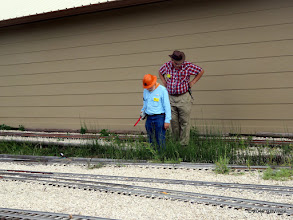 Photo: George Leventon and Clyde Brown discussing the cave in of track where the landscape timbers moved.   HALS Public Run Day  2016-0716  RPWhite