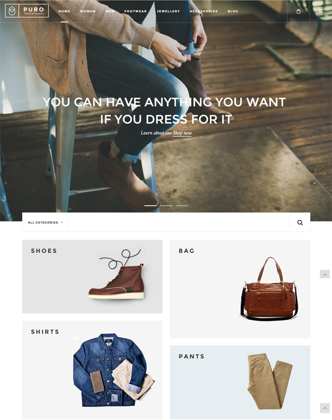 Magento clothing theme Puro