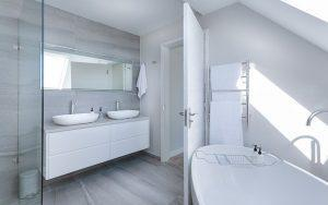 A clean, white bathroom