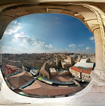 Photo: Old City overlook from the Evangelical Church. You can see the Church of the Holy Sepulchre with its gray domes on the right.