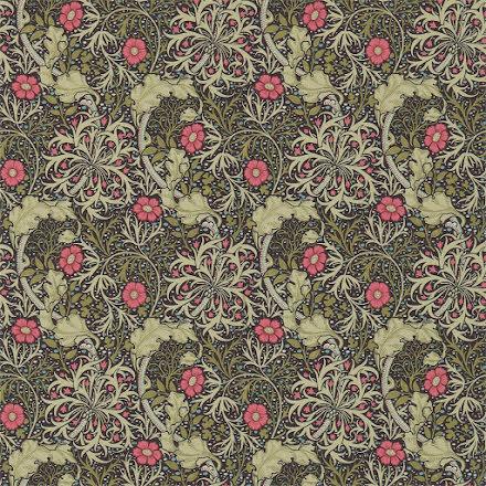 Morris Seaweed Tapet - ebony/poppy