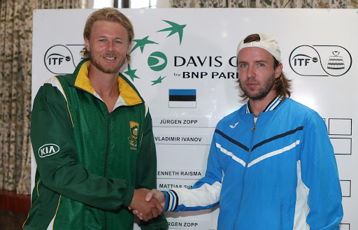 Davis Cup number 2 singles players, Nik Scholtz of South Africa (l) and Vladimir Ivanov of Estonia during the official draw for the Davis Cup tie between South Africa and Estonia at the Irene Country Club on February 02, 2017 in Pretoria, South Africa.