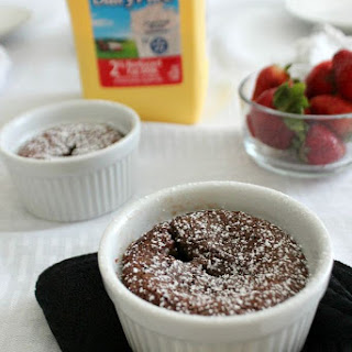 Chocolate Clafoutis with Strawberries.