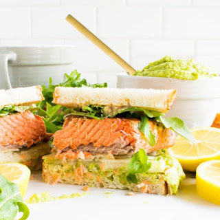 Salmon Pear Sandwich with Sweet Pea Avocado Spread.