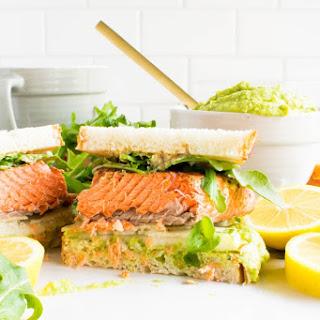 Salmon Pear Sandwich with Sweet Pea Avocado Spread.