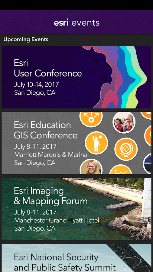 Esri Events- screenshot