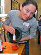 Photo: Emma making the chilli sauce