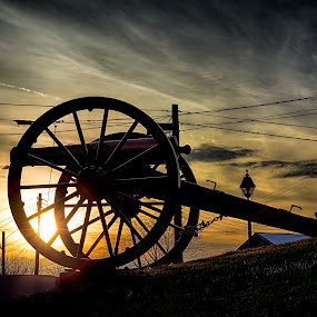 Cannon on the Square by Scott Bryan - Artistic Objects Antiques ( clouds, sky, sunset, dramatic, landscape, sun, cannon )
