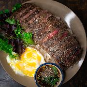 Striploin Steak on Rice with Jim Jaew