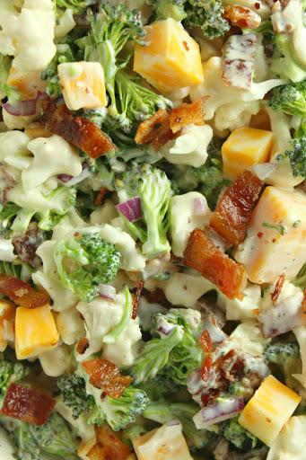 Loaded Broccoli Cauliflower Salad! (Low Carb)