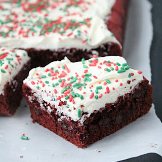 Red Velvet Brownies with White Chocolate Frosting.