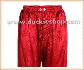กางเกงใส่นอน ชุดนอนผู้ชายขายาวใส่สบาย ผ้าแพรจีนแท้เอวยาง กางเกงแพรแท้ กางเกงแพรจีนสีแดงสด