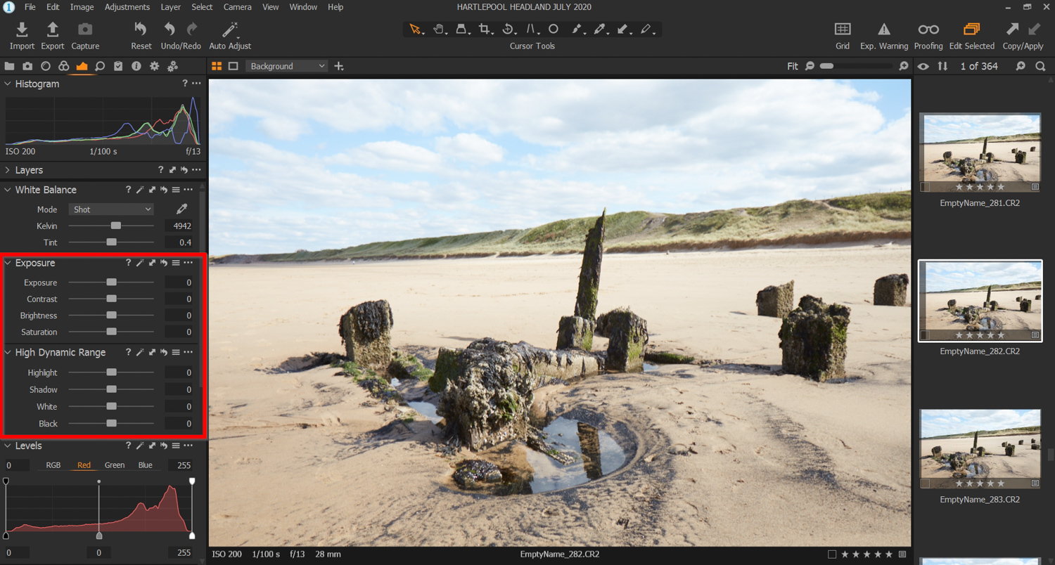 Capture One Exposure and High Dynamic Range tools