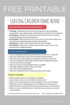 A PARENT'S GUIDE TO LEAVING CHILDREN HOME ALONE