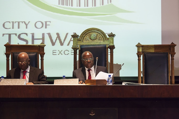 Judge Hendrick Musi (left) and Chair Judge Willie Seriti at the Seriti Commission of inquiry into the arms deal at the Sammy Marks Conference Centre in Pretoria in 2013. Picture: THE TIMES