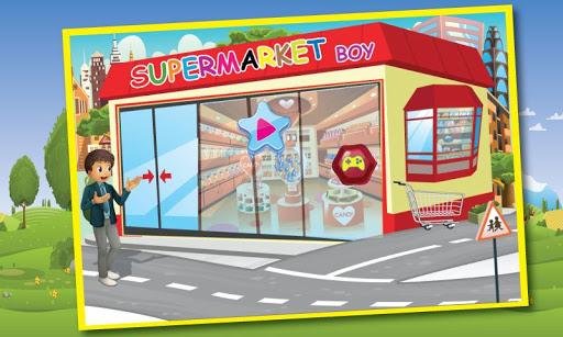 超市男孩食品购物