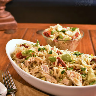 Chicken Orzo with Avocado and Sun Dried Tomatoes.