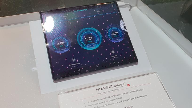 Huawei's own foldable phone, the Mate X, was also under glass so no grubby paws could touch it.