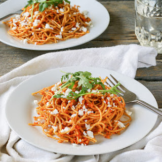 Sun Dried Tomato and Roasted Red Pepper Pasta with Feta