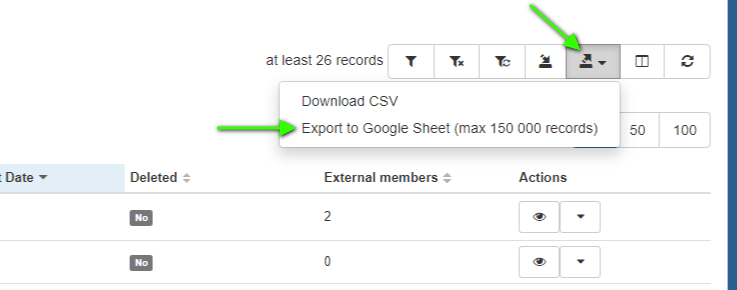 Once you have a list of Google Groups you have identified as inactive and no longer necessary to have, go to the Groups tab. Then export the information.