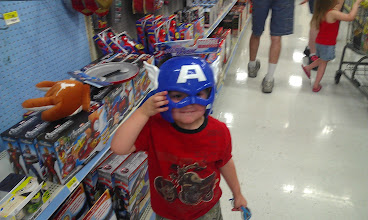 Photo: The Boy has decided that Captain America is his favorite. That makes me very happy.