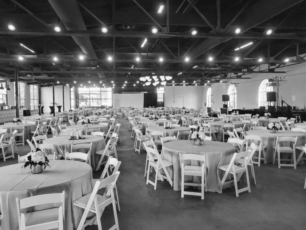 Event Venue: Black & White Photo of Da Vinci Room Setup w/ Tables & Chairs