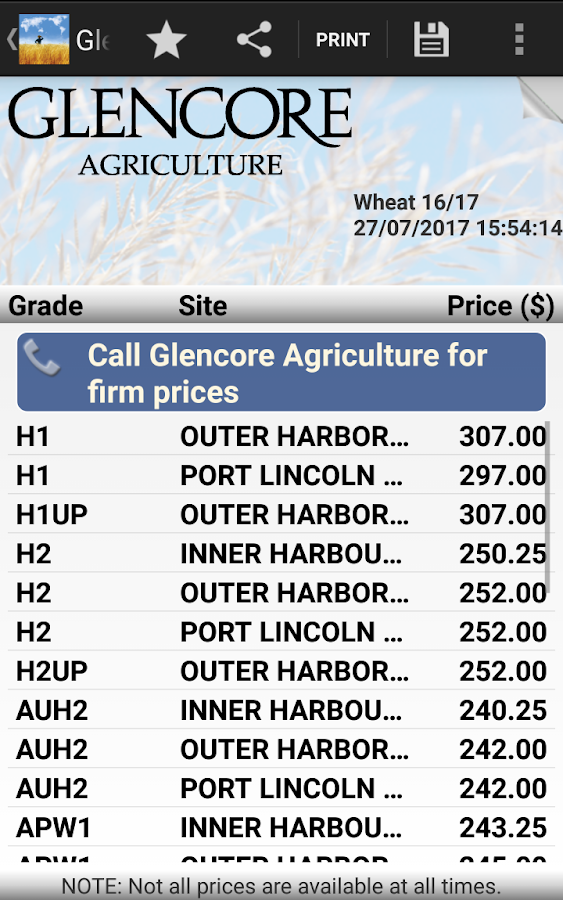 Glencore Australia Pricing- screenshot