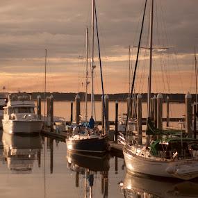 Boats at Dusk by Keith Wood - Transportation Boats ( dusk, hdr, keith wood, kewphoto, boats )