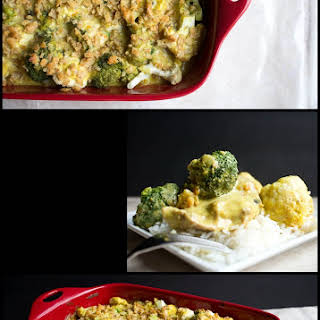 Curried Chicken, Broccoli and Cauliflower Bake.
