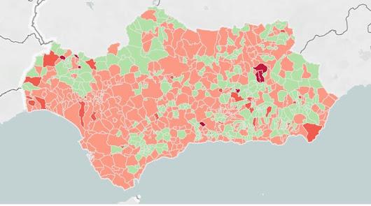 Mapa de incidencia del covid en Andalucía.