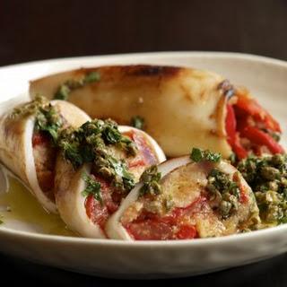 Panzanella-Stuffed Squid with Caper Salsa.