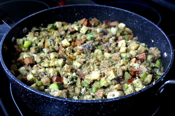Stir in 1 cup of broth. Heat about 5 minutes. Add stuffing mix and...