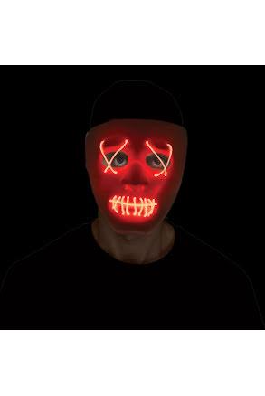 Mask, lysande trådar vit/röd