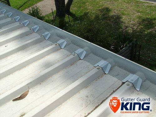 Gutter guard to a trimdek roof roof