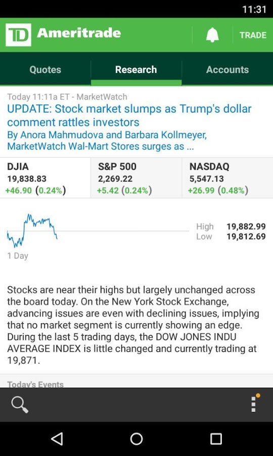 TD Ameritrade Mobile- screenshot