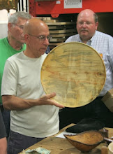 Photo: Mike Colella shows off his large box elder platter with a whole lot going on.  He had it at the Ren Faire and...