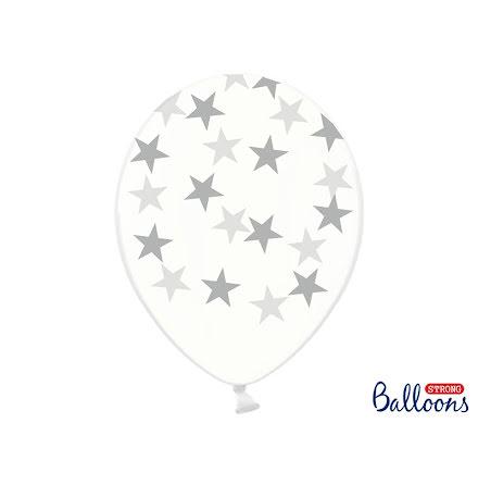 Ballonger - Crystal clear med silverstjärnor