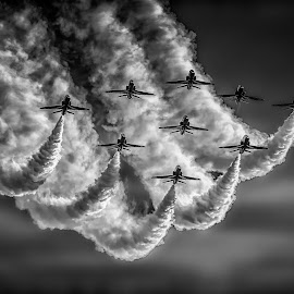Sweeping in Darkness BW by Kelly Murdoch - Black & White Objects & Still Life ( clouds, flying, red arrows, sky, reds, formations, display, jets, planes, smoke, redarrows )