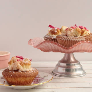 Butterfly Cakes With Rhubarb And Ginger Butter Cream.