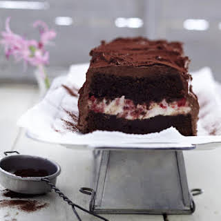 Chocolate Loaf Cake with Strawberry Cream Cheese Filling.